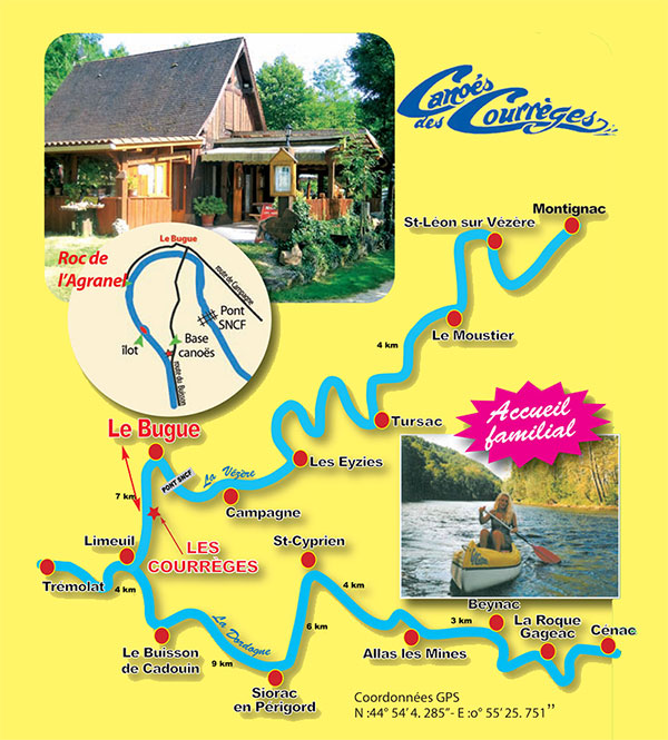 Plan Vézère Dordogne, canoës des Courrèges