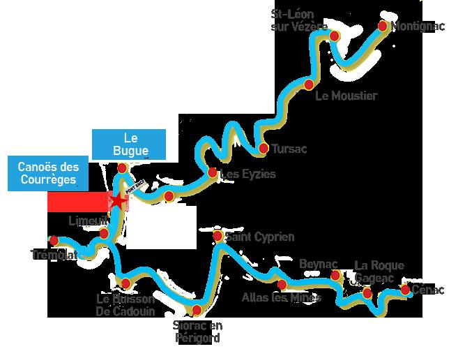Parcours rivières Dordogne et Vézère